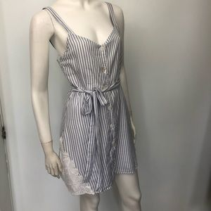 Zara Striped Cotton Sun Dress Belted Lace insets